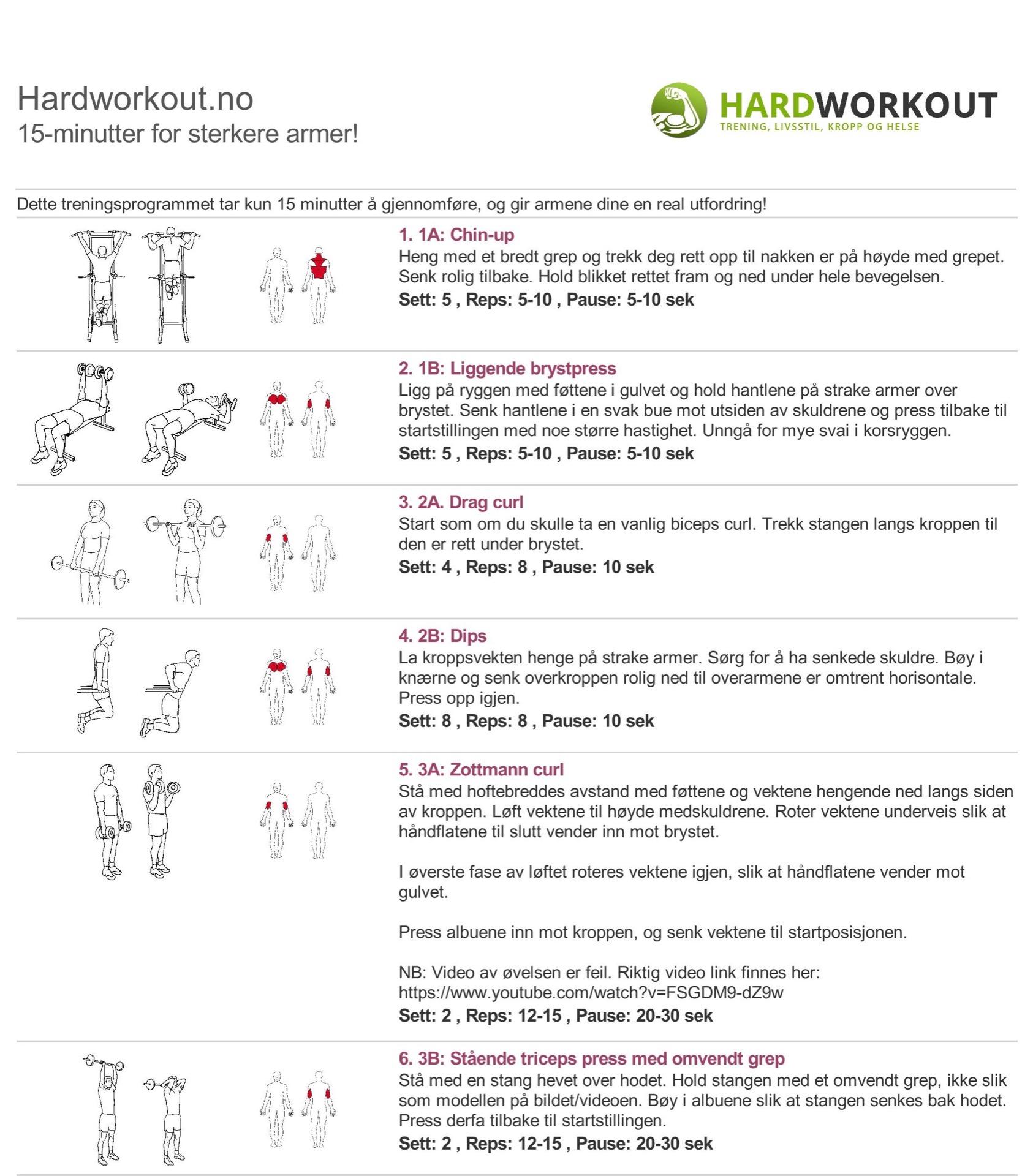 15-minutters styrkeprogram for armer!