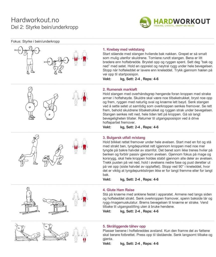 styrke bein treningsprogram